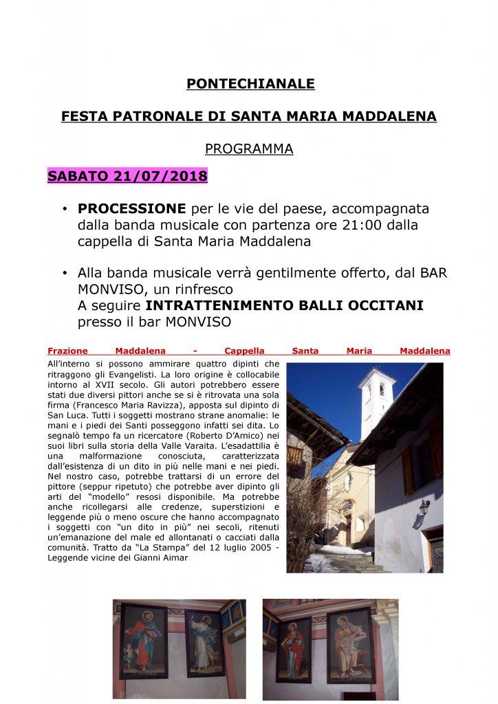 Festa Patronale di Santa Maria Maddalena - 21-22.7.2018