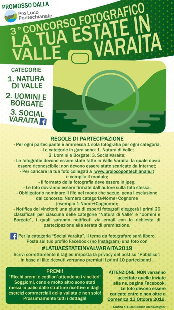 La tua estate in valle varaita 2019 - Regolamento